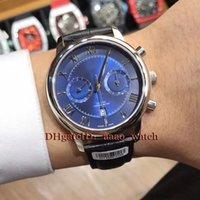 функциональный бренд оптовых-Luxry Brand 40mm 431.13.42.51.03.001 Пятиконтактный многофункциональный синий циферблат 9100 Механизм Автоматические мужские часы Черный кожаный ремень высокого качества