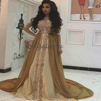 Wholesale aline prom dresses resale online - Moroccan Muslim Gold Evening Dresses Turish Aline Chiffon Prom Dresses With Sleeves Appliques Dubai Arabic Formal Occasion Evening Gown