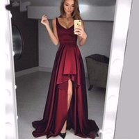Wholesale burgundy high low prom dresses for sale - Group buy Sexy Burgundy High Low Prom Dresses Satin Simple Cheap Long Evening Dress Gown Robe de Soiree Cocktail Party Custom Made Bridesmaid Gowns