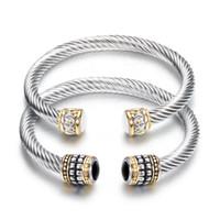 Wholesale women semi precious stone bracelet resale online - Bangles Jewelry Fashion Women Elegant Vintage Black White Semi precious Stone Bracelets Stainless Steel Open Bangles LR044