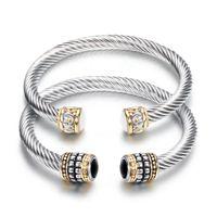 ingrosso braccialetto di pietra preziosa delle donne-Braccialetti Gioielli Moda Donna Elegante Vintage Nero Bianco Semi-preziose Bracciali in pietra all'ingrosso Acciaio inossidabile aperto Braccialetti LR044