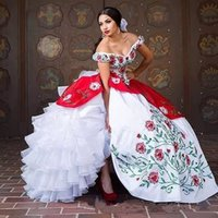 Wholesale white embroidery quinceanera dresses resale online - Elegant Off The Shoulder Lace Quinceanera Dresses Satin Embroidery Beaded Layered RufflesBall Gowns Sweep Train Prom Party Princess Dresses