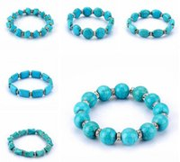 Wholesale order turquoise stones resale online - Round beads turquoise stone handmade beaded bracelet mix order pieces a Beaded