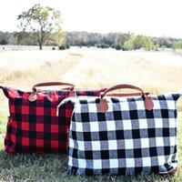 totes negro al por mayor-Buffalo Check Handbag Red Black Plaid Bags Tote de viaje de gran capacidad con mango de PU Sports Yoga Totes Storage Maternity Bags 10pcs