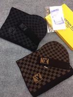 Wholesale star celebrity resale online - Top Quality Celebrity design Letter Printing Woolen Scarf Cap Set Men Woman Cashmere wool Scarf hat pc PETIT DAMIER M70930 With Box