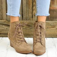 botas altas de tacón alto al por mayor-Botines de cuero fresco invierno otoño encaje tacones altos plataforma hip hop zapatos de mujer botines retro