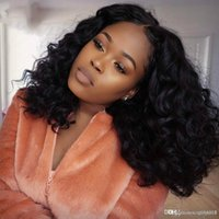 Wholesale black beauty wigs for sale - Group buy HJ Weave Beauty Natural Wave Lace Front Human Hair Wigs Brazilian Full And Thick Bob Curly Human Hair Wigs For Black Women knhj21