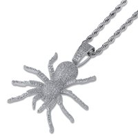 Wholesale hip silver chain for women for sale - Group buy 201909 Iced Out CZ Spider Pendant Necklace Mens Hip Hop Jewelry Gold Silver Black Color Bling Charm Sweater Chain for Women Gift M636F