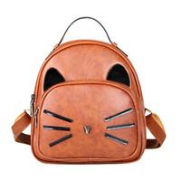 Wholesale girls cat school bags resale online - Women Backpack Cartoon Cute Cat Printed Backpacks Girl Pu Leather Lovely School Bag Female Fashion Small Travel Rucksack Mochila Y19051405