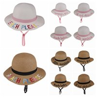 Wholesale kids embroidery hats for sale - Group buy Cute Kids Straw Sunhat Summer Baby Letter Embroidery Sun Cap Creative Fisherman Bucket Cap Travel Beach Sun Hat TTA822