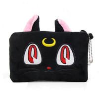 ingrosso borse frizione di gatto-Anime Sailor Moon Diana Black Cat Cosmetic Makeup Bag Purse Mini Clutch Handbag