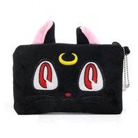 bolsas de embreagem gato venda por atacado-Anime Sailor Moon Diana Gato Preto Bolsa de Maquiagem Cosmética Bolsa Mini Embreagem Bolsa