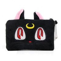 kedi clutch çanta toptan satış-Anime Sailor Moon Diana Siyah Kedi Kozmetik Makyaj Çantası Çanta Mini Debriyaj Çanta