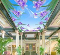 fondo de pantalla de loto en casa al por mayor-Papel tapiz fotográfico 3D moderno Loto tallado dormitorio de la sala de estar Papeles de pared Decoración del interior del hogar Sala de estar Techo Lobby Papel tapiz mural