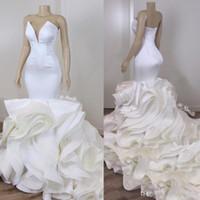 Wholesale wedding dresses for plus size bridal resale online - 2020 Vintage Plus Size Mermaid Wedding Dresses Sexy V Beaded Neck Cascading Ruffles Train Bridal Party Gowns For Arabic Vestidos De Novia