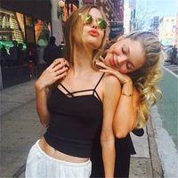 ingrosso riassunti indietro-Crop Tops 2019 Summer Women Sexy Cotton Breast Cross Vest femminile breve stile Backless Camis Girls Brief Fashion Tank Top
