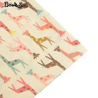 черная тюль белая вышивка оптовых-Booksew Giraffe Pattern100% хлопчатобумажная ткань Главная Telas Fat Quarters DIY ручной работы стеганые простыни швейные подушки лоскутное ткань