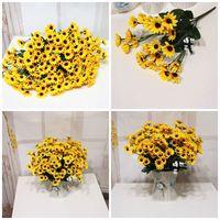 Wholesale decorative crystals hang resale online - Fake Flower Trumpet Sun Flower Seven Forks Yellow Color Fashion Decorative Artificial Flowers Bwedding Decoration Hot Sale2 yrE1