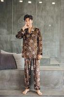 ingrosso pigiama invernale per gli uomini-High-end elegante temperamento Smooth oro maschile pigiama in velluto autunno e l'inverno a maniche lunghe Suit Big Letters Home Service Cappotti di lusso