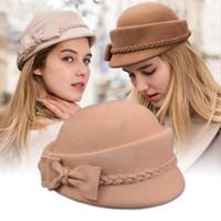 Wholesale felt pillbox hat resale online - Seioum Elegant Winter Australian Wool Felt Fedora Red Black Wedding Hats Women Female Bow Berets Caps Pillbox Hat Chapeau Y200102