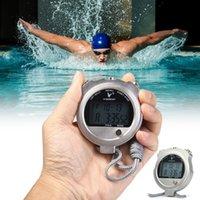 zamanlayıcı için lcd toptan satış-Çok Fonksiyonlu Kronometre 2 Satırlar Takvim Alarm Counterdown Timer Fonksiyonu ile 10 Anılar Metal LCD Elektronik Kronometre