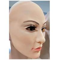 ingrosso lattice femminile del fronte-Realistico pelle umana Disguise Self Mask halloween latex realista maske silicone protezione solare ealistic silicone femmina reale Maschera