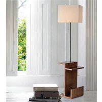 Wholesale wooden bedside tables resale online - US Stock Modern Floor Lamp with Wooden Shelves Wood Floor Light with Table USB Ports Bedside Table for Bedroom End Table for Living Room