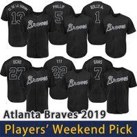 camisetas de atlanta al por mayor-Atlanta 2019 Bravos Jugadores Fin de semana Apodo Jersey Austin Riley Ronald Acuña Jr Freddie Freeman Dansby Swanson Camisetas de béisbol