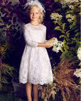 vestidos de desfile niñas hasta la rodilla al por mayor-Pageant Kids vestido de alta calidad de encaje niña vestidos de flores para la boda de la rodilla de la muchacha del partido del niño vestido de cumpleaños