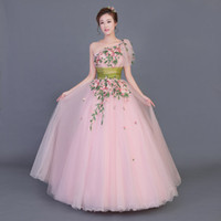 100%real pink single shoulder flower leaf vine embroidery royal court ball  gown Medieval dress Renaissance gown Victorian Belle Ball fc244bf28a0e