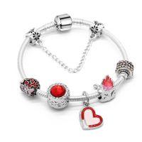 encantos de la corona roja al por mayor-Charm Brand Pulsera Pandora Pulseras Para Mujeres Royal Crown Bracelet Red Heard Crystal Beads Diy Joyería de La Boda