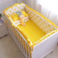 Wholesale newborn baby bedding sets online - 8pcs Classic Crown Baby Bedding Set Soft Newborns Crib Bedding Set Baby Cot Bumpers Sheet Quilt Pillowcase Multi Colors Sizes