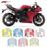 Wholesale yamaha r1 white green resale online - New high quality Fit Motorcycle Wheel Sticker stripe Reflective Rim For Yamaha YZFR1 YZF R1