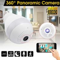 ingrosso monitor leggeri-Telecamera di luce senza fili a 360 gradi IP Camera 1080P E27 Lampada panoramica FishEye Smart Home Monitor allarme CCTV WiFi Telecamera di sicurezza