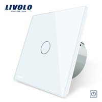 interruptor retrasado al por mayor-Livolo EU Interruptor de temporizador estándar (30s de retraso), CA 220 ~ 250V, Panel de vidrio de 3 colores, Interruptor de toque ligero + Indicador LED