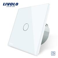ingrosso interruttori di timer chiari-Livolo Interruttore timer standard UE (ritardo 30 secondi), CA 220 ~ 250 V, pannello a 3 colori in vetro, interruttore tattile leggero + indicatore LED
