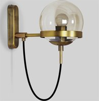 Wholesale bedside lamps iron resale online - Nordic Glass Ball Wall Lamp Retro Restaurant Simple Hotel Bedside Lamp Modern Industrial Wind Circle Wrought Iron Loft Wall Light L120