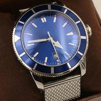 venda esqueleto dos relógios dos homens venda por atacado-Hot Sale BRE Automático Mecânica Mens Watch prata inoxidável Orologio Belt prata Skeleton Dial relógio de luxo mestre Blue Trend Mens Relógios