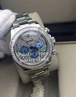 pandas diamant großhandel-Top Luxus Herrenuhren Automatik 2813 Uhrwerk Volle Pave Diamond Lünette Panda Dial Mens 116576 Cosmograph Men Full Steel Armbanduhren