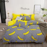 juegos de cama queen para niños al por mayor-Textiles para el hogar Plátano a rayas de lujo Funda nórdica Funda de almohada Sábana Sábanas Niño Niño Niña adolescente Ropa de cama Juego de cama King Queen Twin
