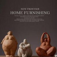 ingrosso ornamenti di soggiorno moderni-Ornamenti di carattere in stile nordico donna grassa decorazione della casa soggiorno camera modello resina moderna decorazione astratta