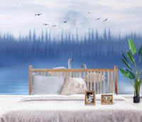 Wholesale paintings swans resale online - Self Adhesive D Painted Swan WG0963 Wall Paper mural Wall Print Decal Wall Murals Muzi