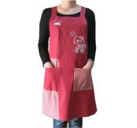 работает фартук оптовых-Bodecin Красный темно-синий Hello Kitty джинсовый фартук Японская женщина кухня Avental de Cozinha Divertido Tablier кухня фартук