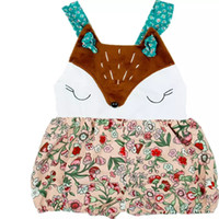 Wholesale stitch jumpsuit wholesaler for sale - Stitching Floral Jumpsuit White Fox Face Sleeveless No Hood Climbing Suit Square Collar Animal Stitching Fox Sling Cute Bag Fart
