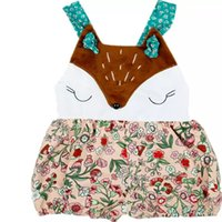 niedliche sling taschen großhandel-Stitching Floral Overall Weißer Fuchs Gesicht Ärmellos Klettern Anzug Quadratischer Kragen Tier Stitching Fox Sling Cute Bag 4