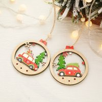 Wholesale colored ornaments resale online - Christmas Tree Decoration Pendant Colored Wooden Round Car Christmas Ornaments Xmas Door Decoration New Year Kids Gift