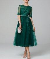 gri tül elbise çay uzunluğu toptan satış-Koyu Yeşil Jewel A-line Straplez Çay Boyu Tül Illusion Kokteyl Elbisesi Yarım Kol Aplik ve Boncuk ile