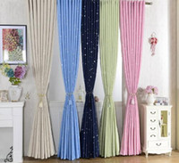 Wholesale cotton cloth made resale online - Shiny Stars Children Cloth Curtain For Kids Boy Girl Bedroom Living Room Blue Pink Blackout Cortinas Custom Made Drapes