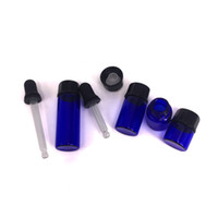 Wholesale cosmetic glasses black resale online - Black Rubber Glass Teat Dropper with small blue glass bottle essential oil roll on small bottle ml ml ml ml for cosmetic Wax
