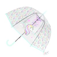 çocuklar karikatür şemsiye toptan satış-Çocuklar Unicorn Şemsiye Sevimli Şeffaf Şemsiye Apollo Yarı Otomatik Karikatür Penguen Çocuk Şemsiye Drop Shipping Sevimli